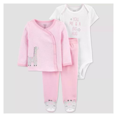 VV0259 Girls Pink 3pc Jacquard Hooded Jogger Set Blues Baby